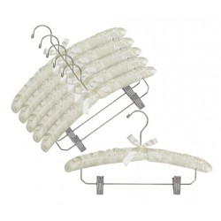 Ivory Satin Padded Hangers w/ Chrome Hook & Clips