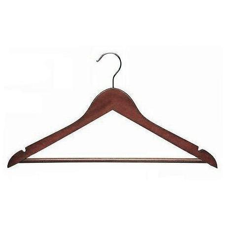 Walnut & Chrome Flat Suit Hanger w/Bar
