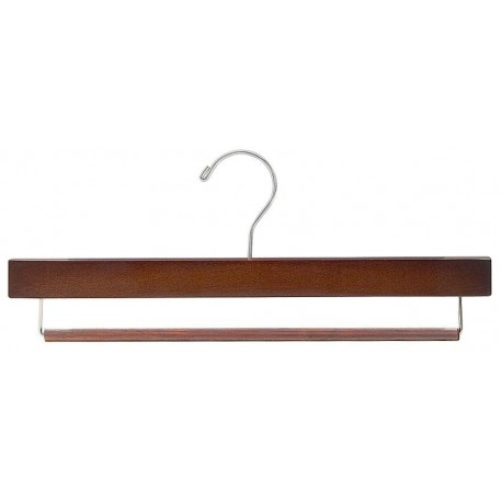 Walnut & Chrome Pant Hanger w/ Non-Slip Bar