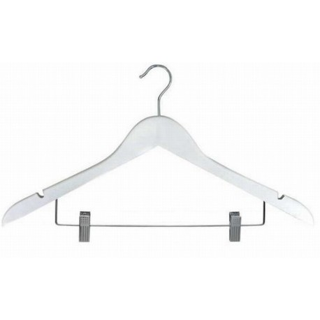 White Flat Combination Hanger w/Clips