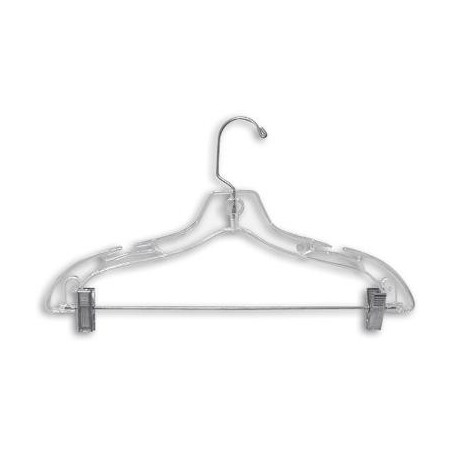 "Clear 17"" Combination Hanger w/ Clips"