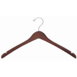 Walnut & Chrome Contoured Coat/Top Hanger