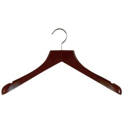 Mahogany & Satin Nickel Deluxe Coat Hanger