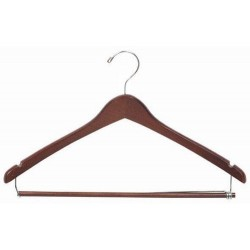 Walnut & Chrome Contoured Suit Hanger w/ Locking Bar