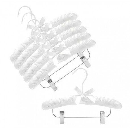 """12"""" White Childrens Satin Padded Hangers w/Clips"""