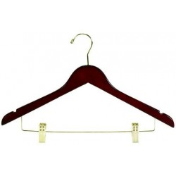 Walnut Flat Combination Hanger w/ Clips