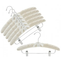 Natural Canvas Padded Hangers w/Chrome Hook & Clips