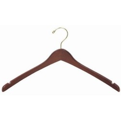 Walnut Contoured Coat/Top Hanger