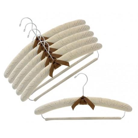 """17"""" Linen Padded Hangers w/ Non-Slip Pant Bar"""
