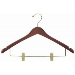 Walnut Contoured Combination Hanger w/ Clips
