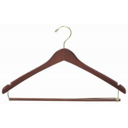 Walnut Contoured Suit Hanger w/ Locking Bar