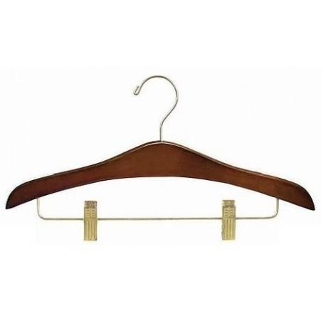 Walnut Decorative Combination Hanger w/ Clips