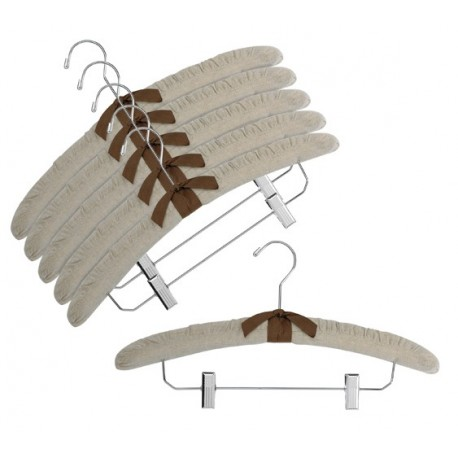 "17"" Linen Padded Hangers w/ Chrome Hook & Clips"